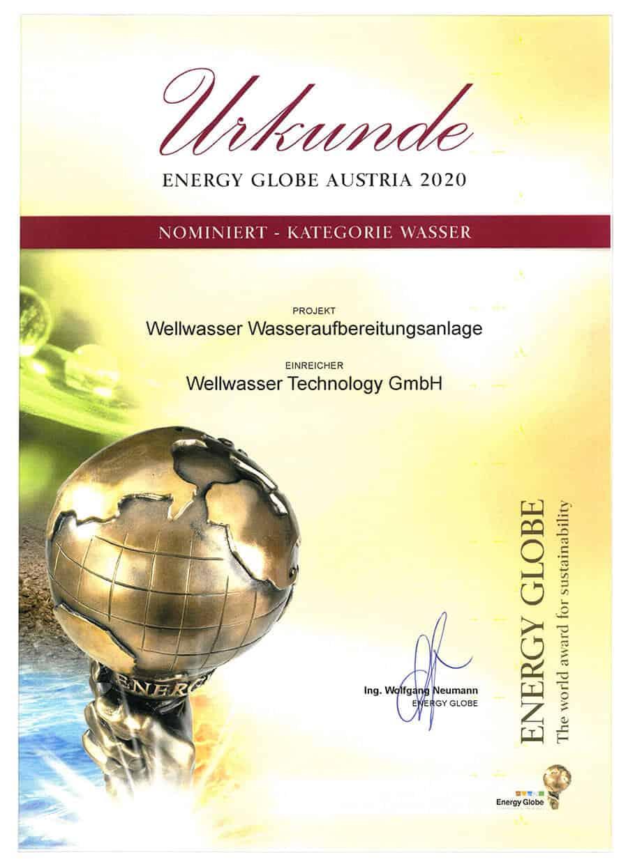 Wellwasser Energy Globe Urkunde
